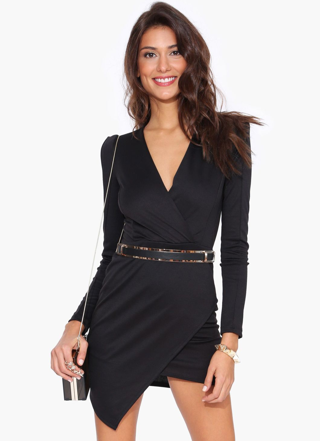 Black long sleeve v neck asymmetric bodycon dress us fashion
