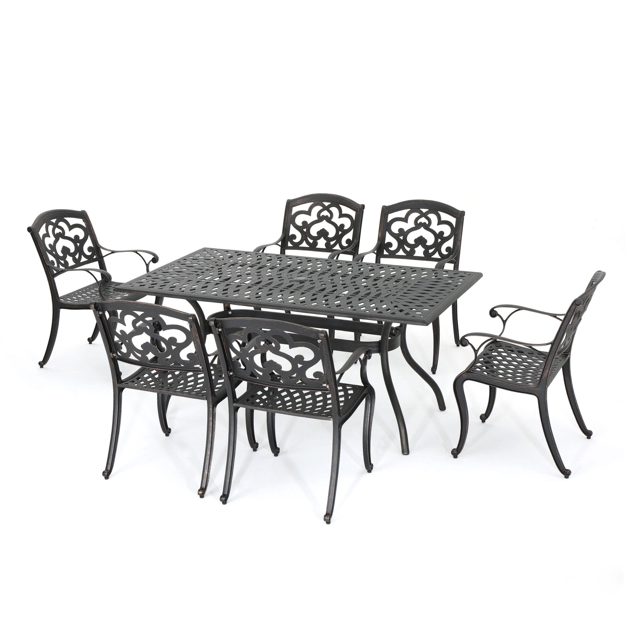 Austin Outdoor 7 Piece Cast Aluminum Rectangle Dining Set By