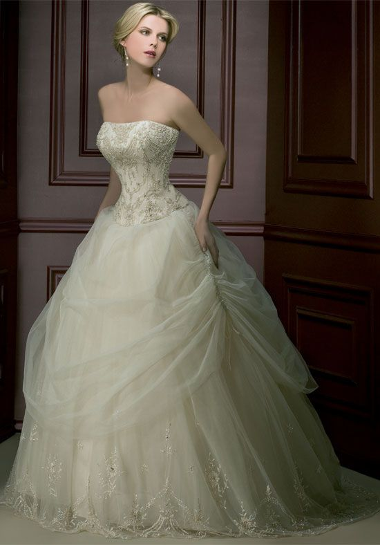 Strapless Embroider Beads Working Tulle Satin Ball Gown Wedding Apparels