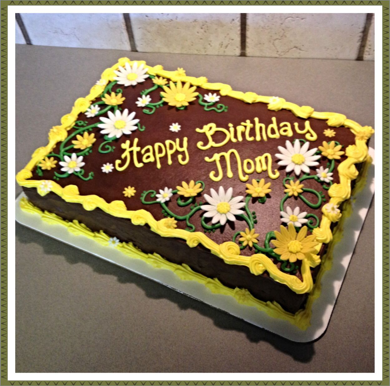Chocolate Cake With Daisies For A Special Mom Birthday Sheet
