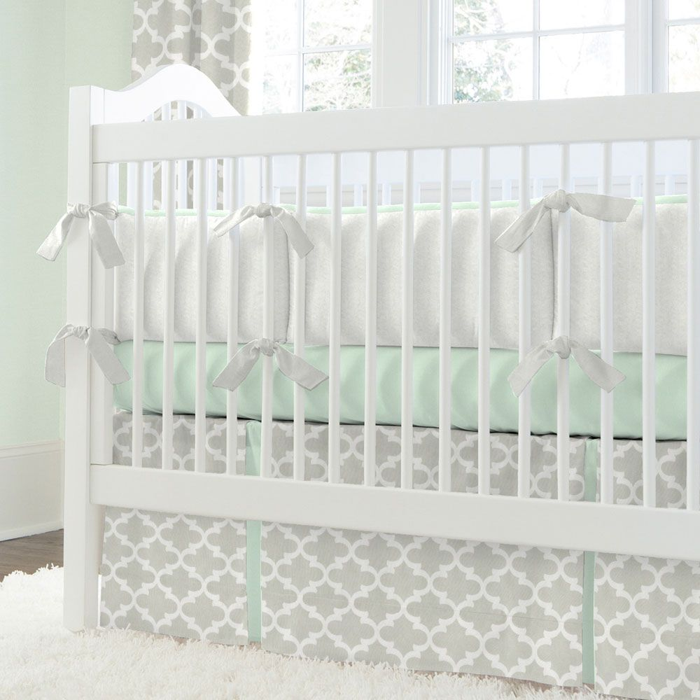 french gray and mint quatrefoil crib bedding  neutral bedding  - french gray and mint quatrefoil crib bedding
