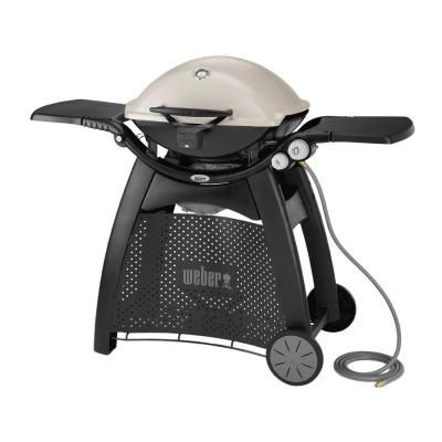 Weber Q 3200 2 Burner Natural Gas Grill In Titanium With Built In Thermometer 57067001 The Home Depot Natural Gas Grill Gas Bbq Propane Grill