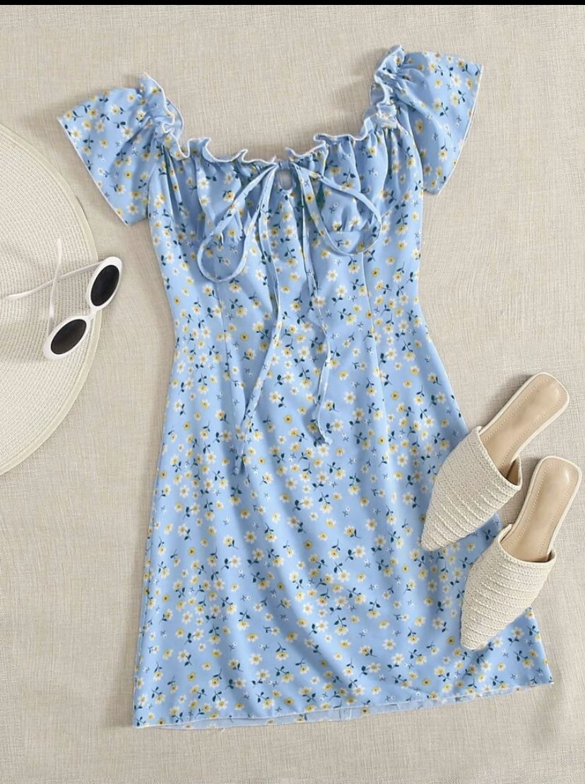 Frill Trim Tie Front Ditsy Floral Dress Ditsy Floral Dress Shein Outfits Girls Fashion Clothes [ 1110 x 828 Pixel ]