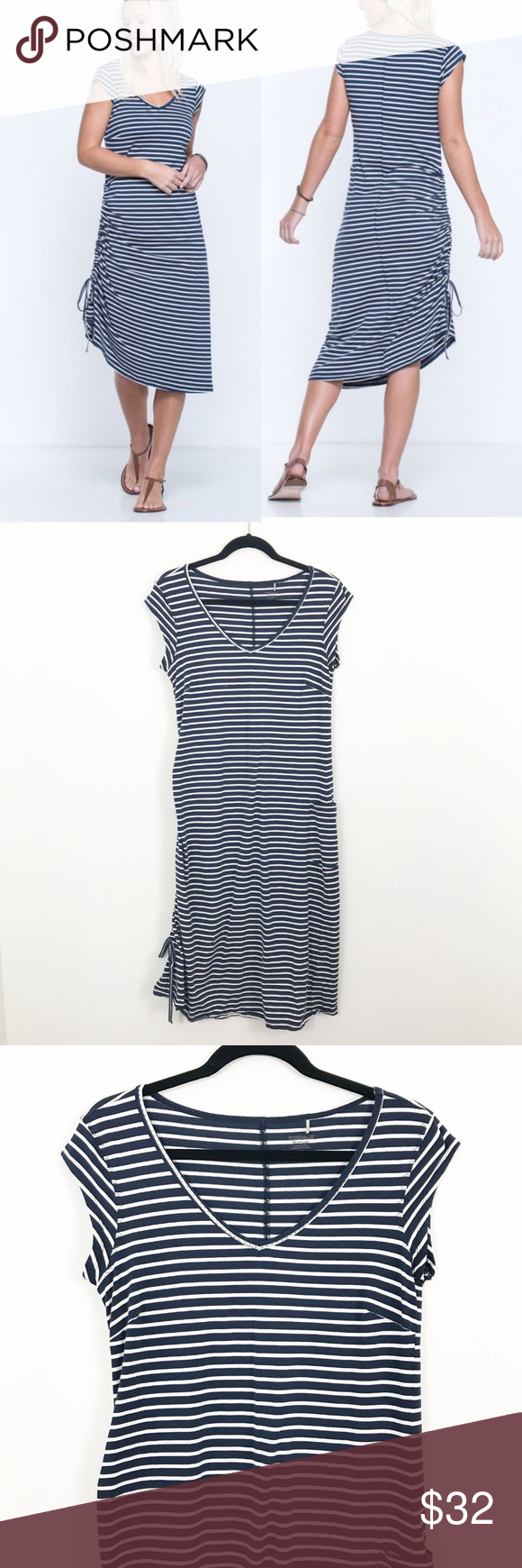 Toad & Co Muse Navy Blue White Stripe Dress Toad & Co Muse