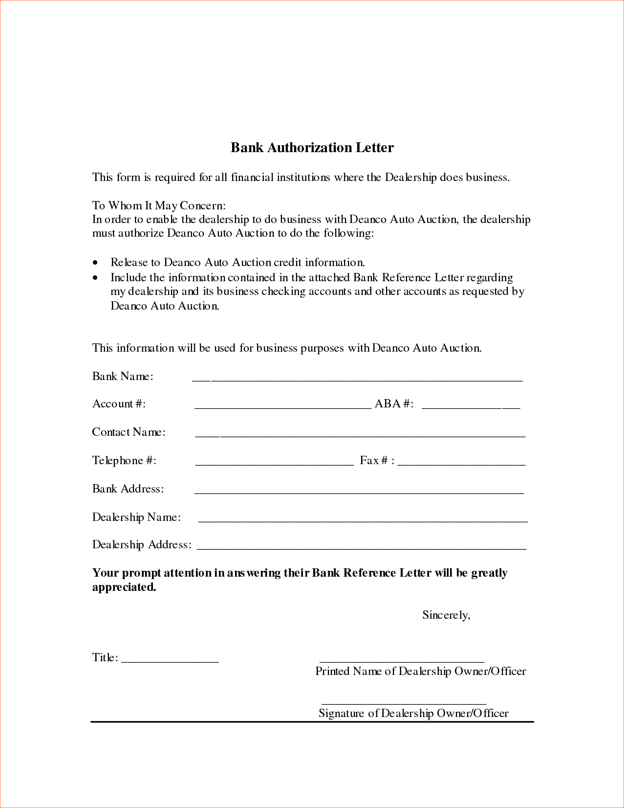 Bank Authorization Letter Procedure Template Sample Credit