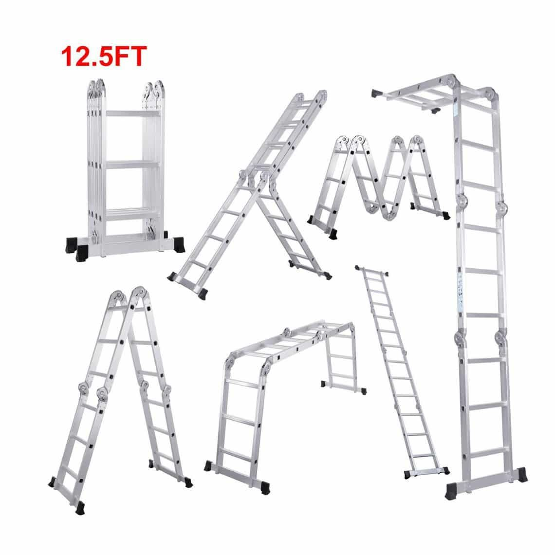 Scaffold Heavy Duty Multi Purpose Folding Ladder Extendable Platform Aluminum From Lifewit Multi Purpose Ladder Ladder Folding Ladder
