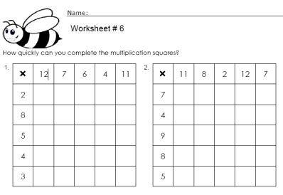 Multiplication Square Worksheets | חשבון | Multiplication ...