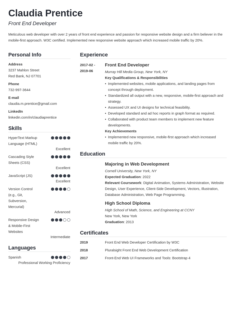 front end developer resume example template simple in 2020