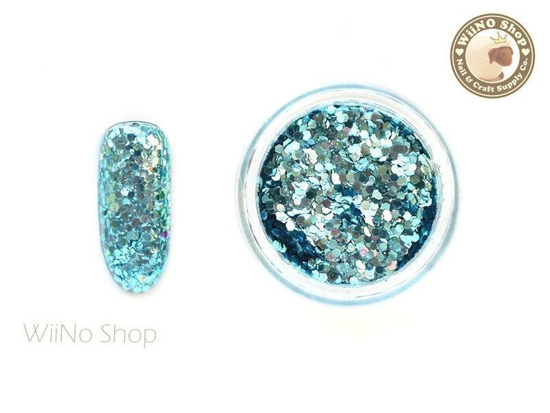 Turquoise Hexagon Mixed with Glitter Dust Powder / Sparkle Powder / Nail Art Craft (A01)
