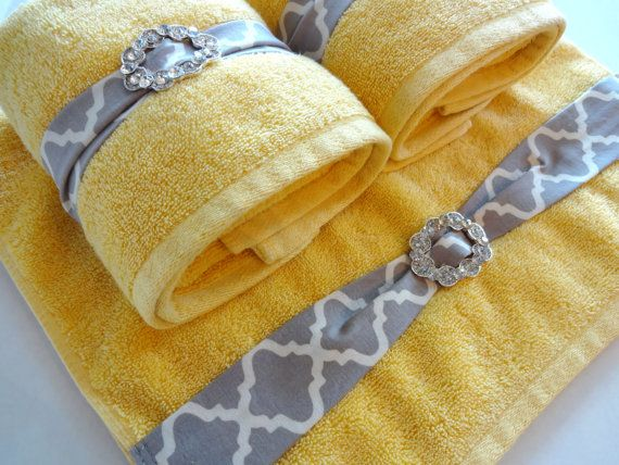 bling towels yellow bathroom towels yellow and grey by augustave my yellow and grey. Black Bedroom Furniture Sets. Home Design Ideas