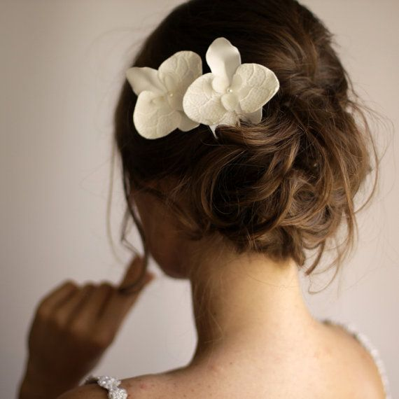 set of 2 orchid hair flowers orchid hair pin bridal hair flower lace hair piece ivory on etsy 40 40 cad