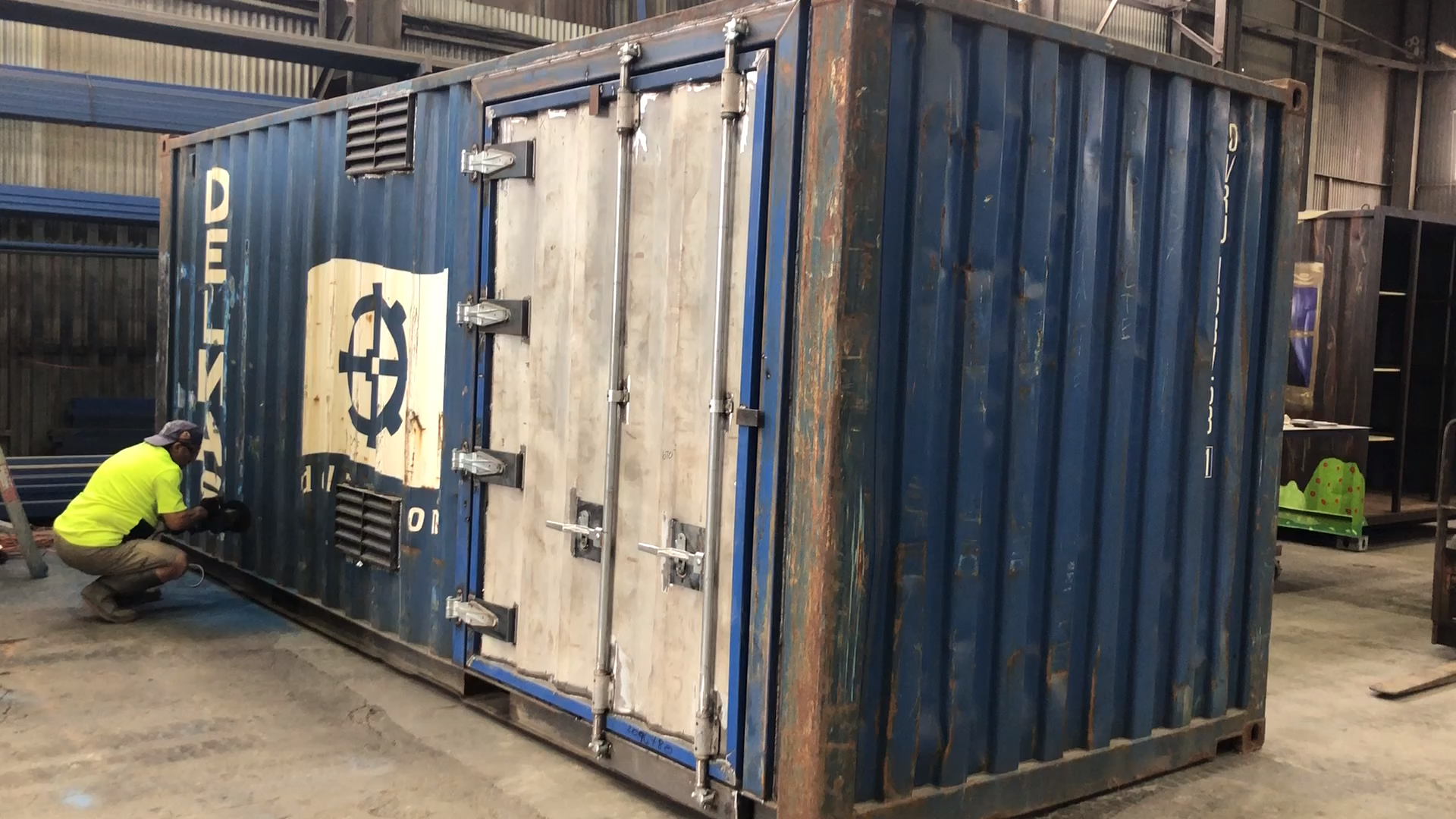 Container Modification Underway 20ft Shipping Container Modification In Progress Container Modification U In 2020 Sea Can Homes Container House Shipping Container
