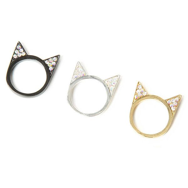 Katy Perry Crystal Cat Ears Rings Set of 3 found on Polyvore