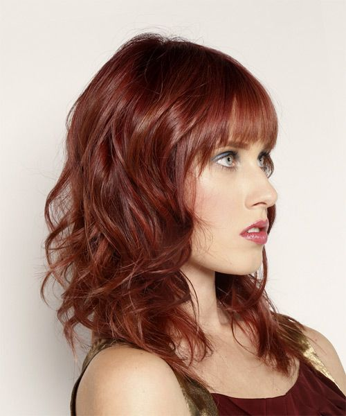 Long Wavy Casual Hairstyle with Blunt Cut Bangs - Dark Red | Cut ...