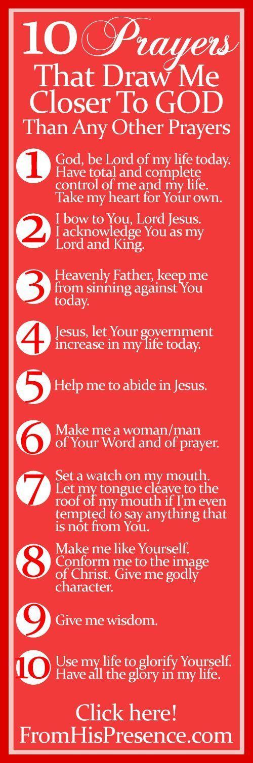 10 Prayers that draw you closer to God | Christianity, Jesus