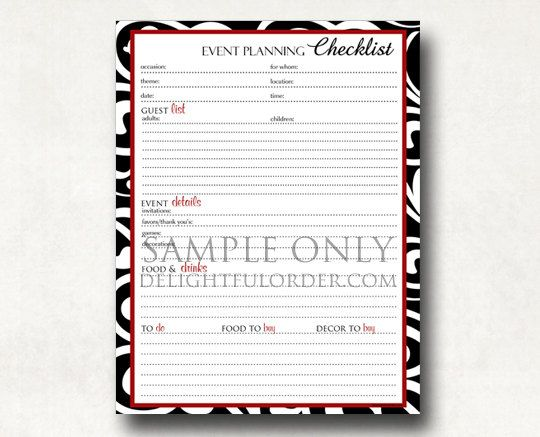 Event Planning Checklist Pdf Printable File By Delightfulorder