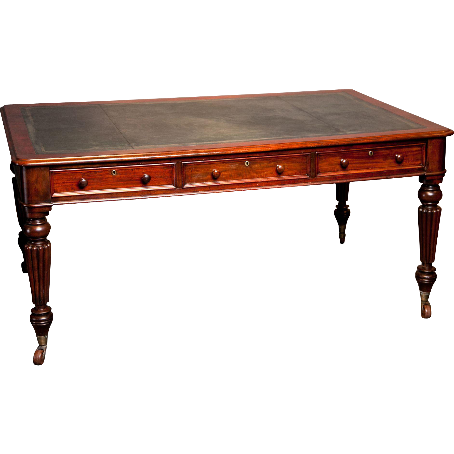 English Antique Writing Table In Mahogany Fitted With 6 Drawers