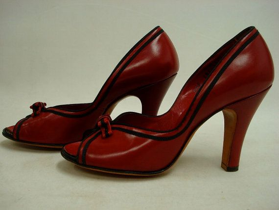 1940s  Red Peep Toe Pumps CRIMSON VAMP  Bows by LostnFoundVintage, $98.00