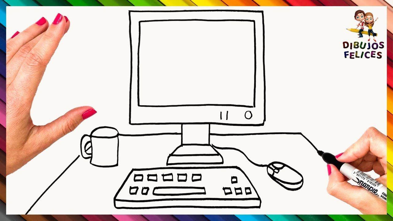 Como Dibujar Una Computadora Paso A Paso Dibujo Facil De Pc Como Dibujar Facil Dibujo Facil Como Dibujar