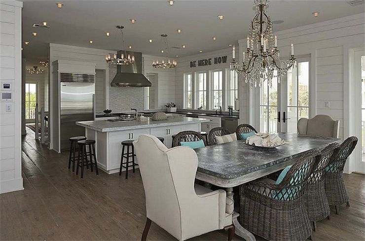 Beach Cottage Kitchen With Crystal Chandelier Over Whitewashed Entrancing Kitchen Lights Over Table Design Decoration