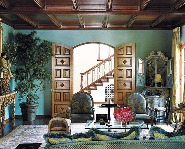Brown Vaulted Ceiling With Teal Walls