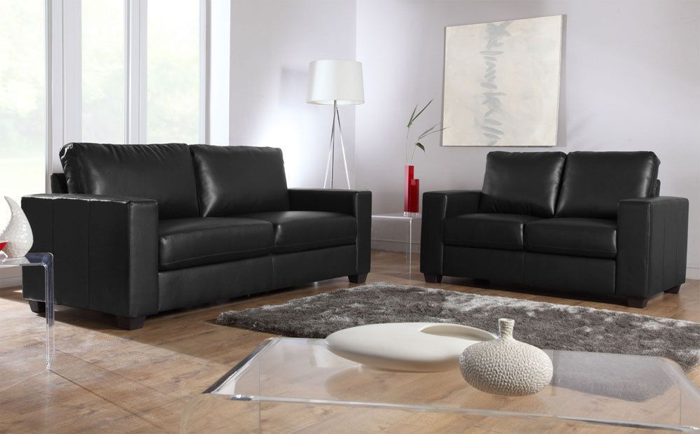 MISSION Black Leather 2 3 Seater Sofas Suite Settees