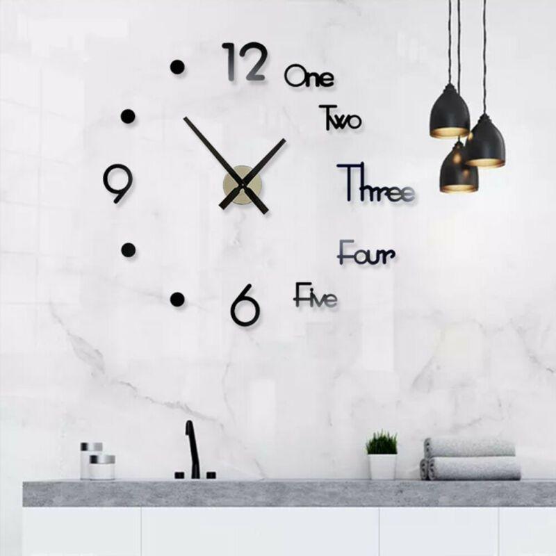 Modern 3d Acrylic Mirror Sticker Diy Qurtz Wall Clock Number Home Office Decors Wall Clocks Ebay Link In 2020 Diy Clock Wall Wall Clock Kits Large Wall Clock