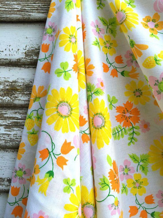 Vintage Sheet Fabric 1 Yard Yellow And Orange By Farmstandfabrics