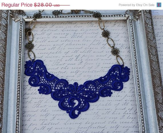 20 sale ends midnight Purple Blue lace necklace in by OliniLaces, $22.40
