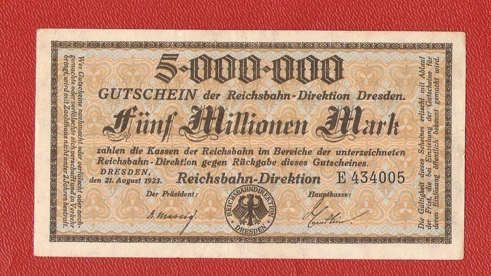 GERMANY 1 MILLION MARK DRESDEN REICHSBAHN NOTGELD BANKNOTE GUTSCHEIN 1923 GOOD