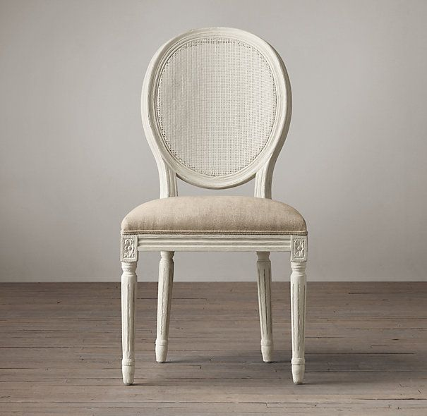 Vintage French Round Cane Back Fabric Side Chair Dining
