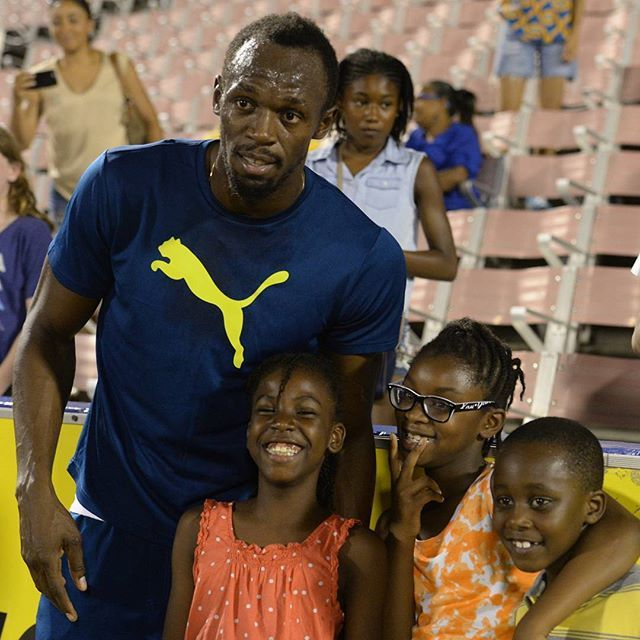 #usainbolt and the future at #jamaicaolympictrials Day 1. National Stadium…