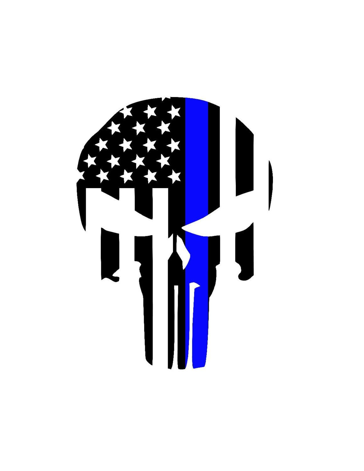 Punisher skull back the blue police lives matter decal yeti decal car decal support police wife family back the blue sticker by