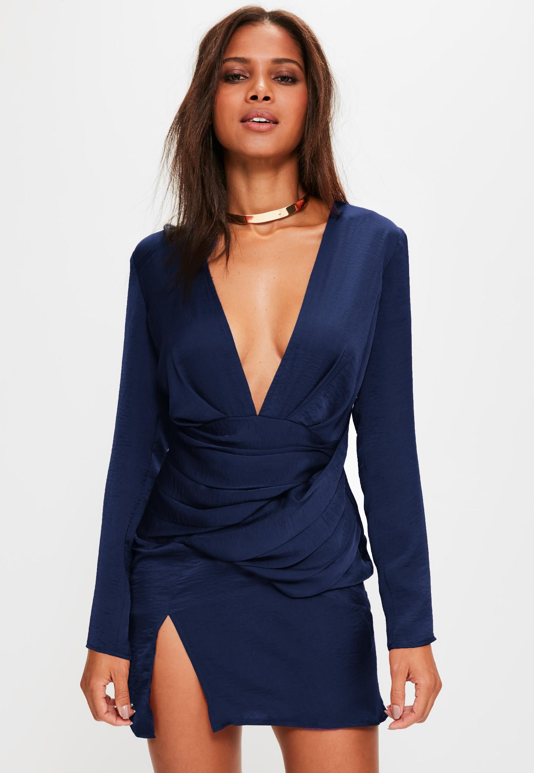 bd12b4737b navy silky long sleeve panelled shift dress