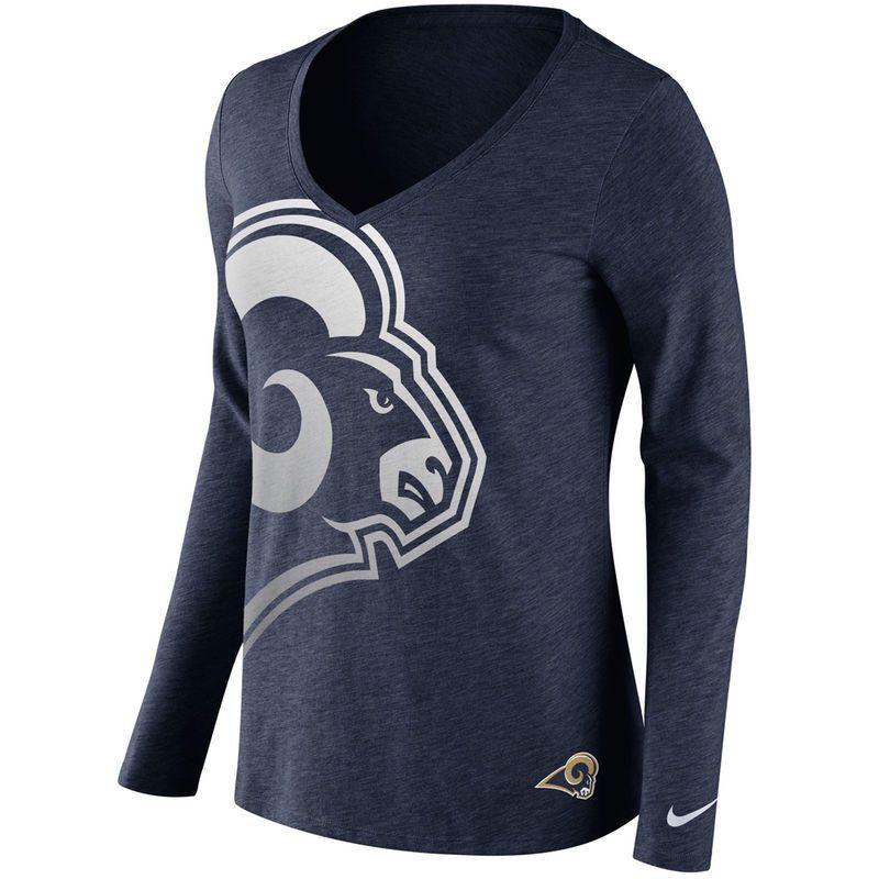Los Angeles Rams Nike Women s Logo Wrap Tri-Blend V-Neck Long Sleeve T-Shirt  - Navy b9a965ea1