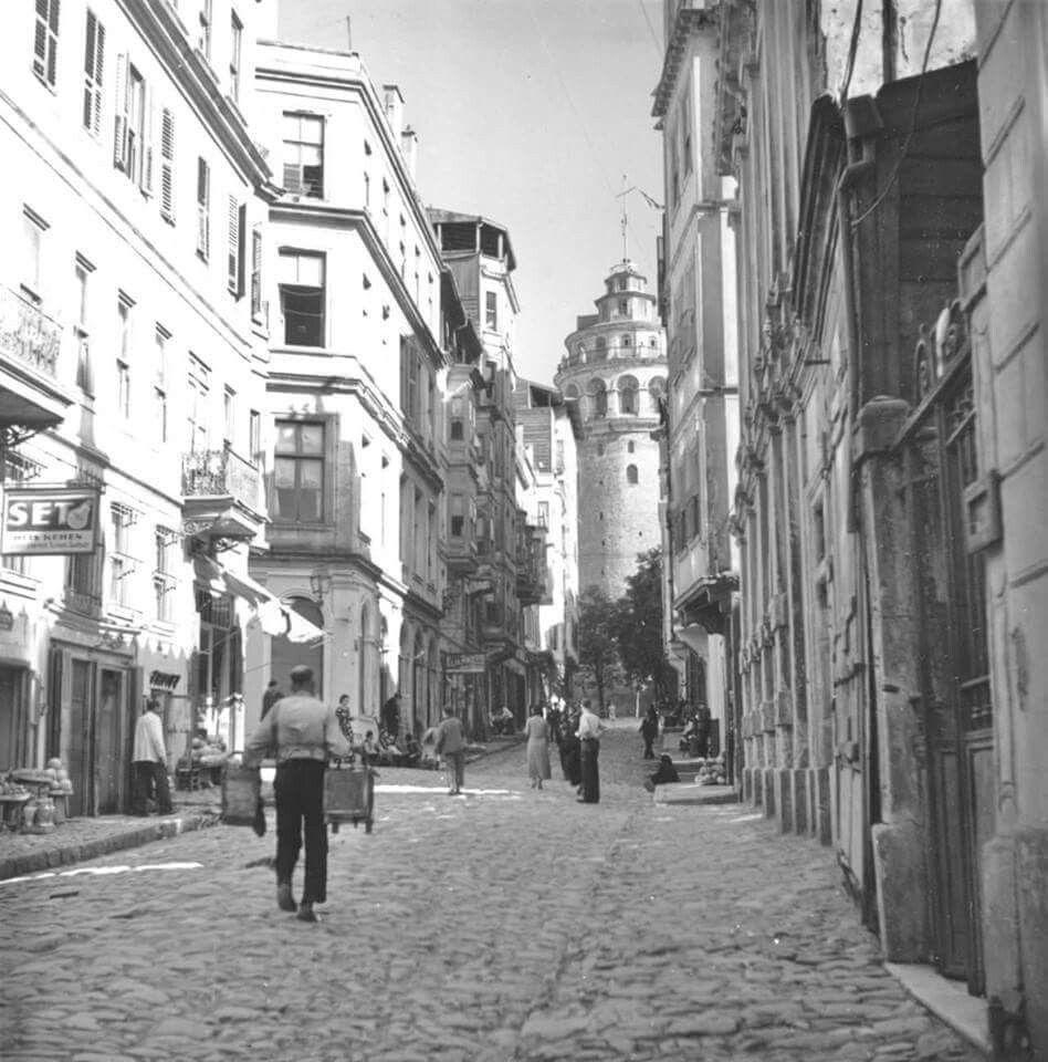buyuk hendek caddesi ve galata kulesi istanbul tarih fotograf
