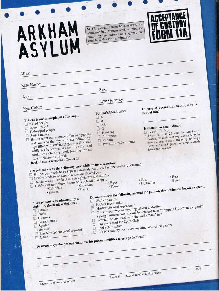Arkham Asylum Admittance Form Asylum clowns etc Pinterest - physical form