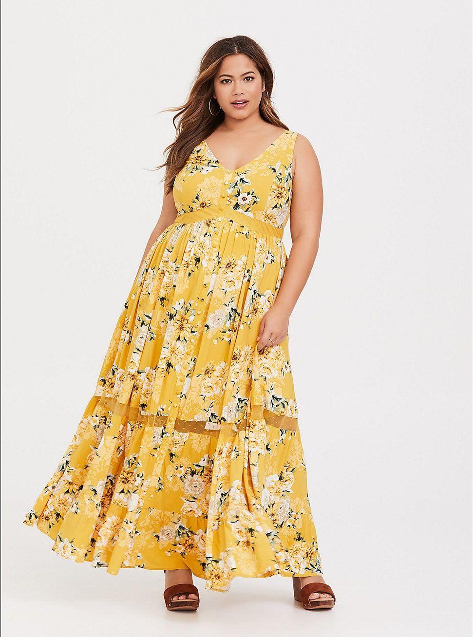 0da73ae98e34 Yellow Floral Challis Maxi Dress, PLETHORA FLORAL Plus Size Women, Torrid,  Tall Women