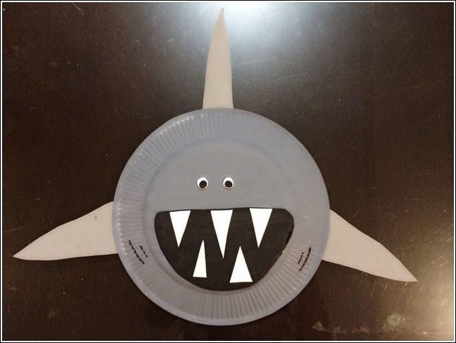 Paper plate shark paper plate crafts crafty crafted for Craftwork from waste