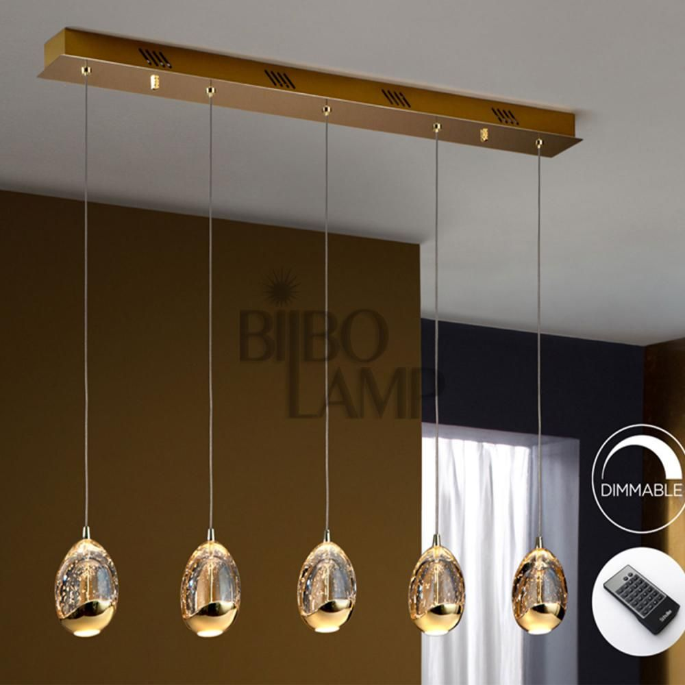 Lámpara Distancia Colgante A De 5 Mando Led Luces Con Oro En Lineal cj4RS3qL5A