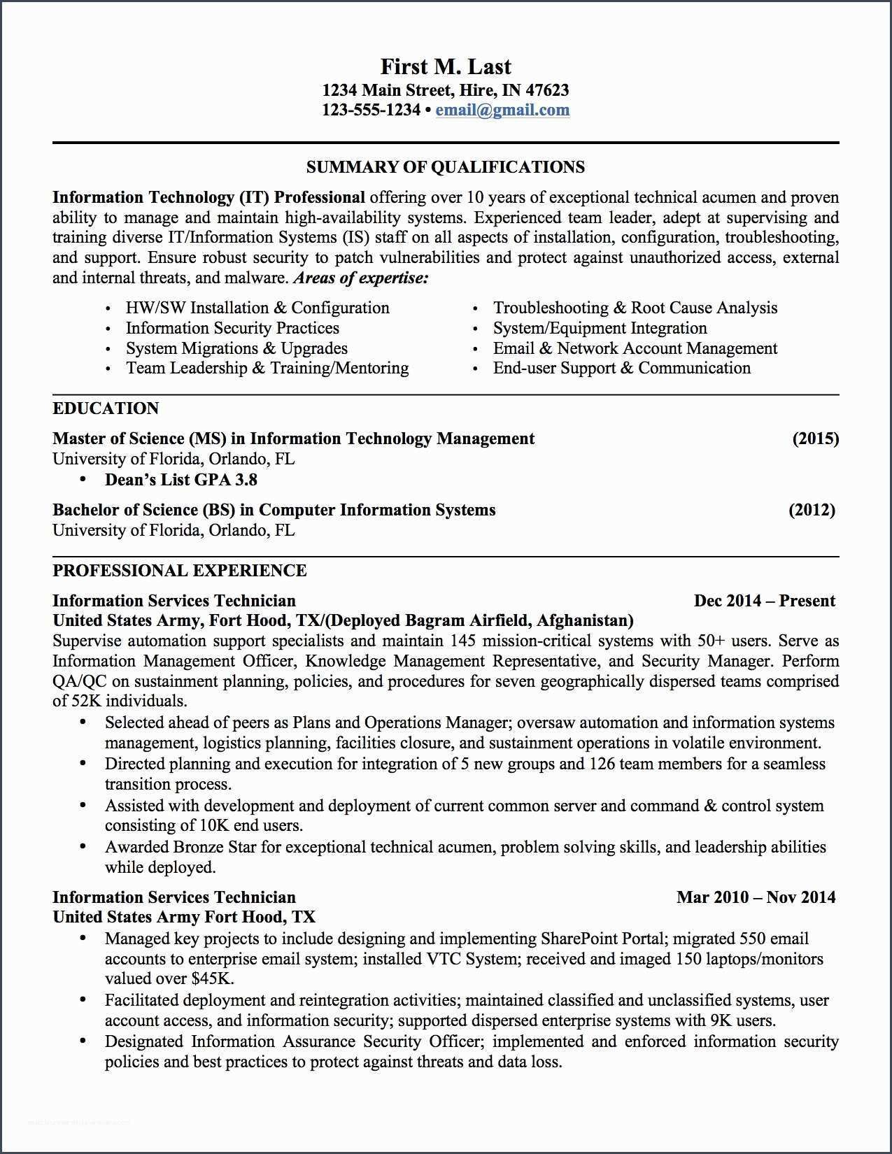referencemilitary to civilian resume