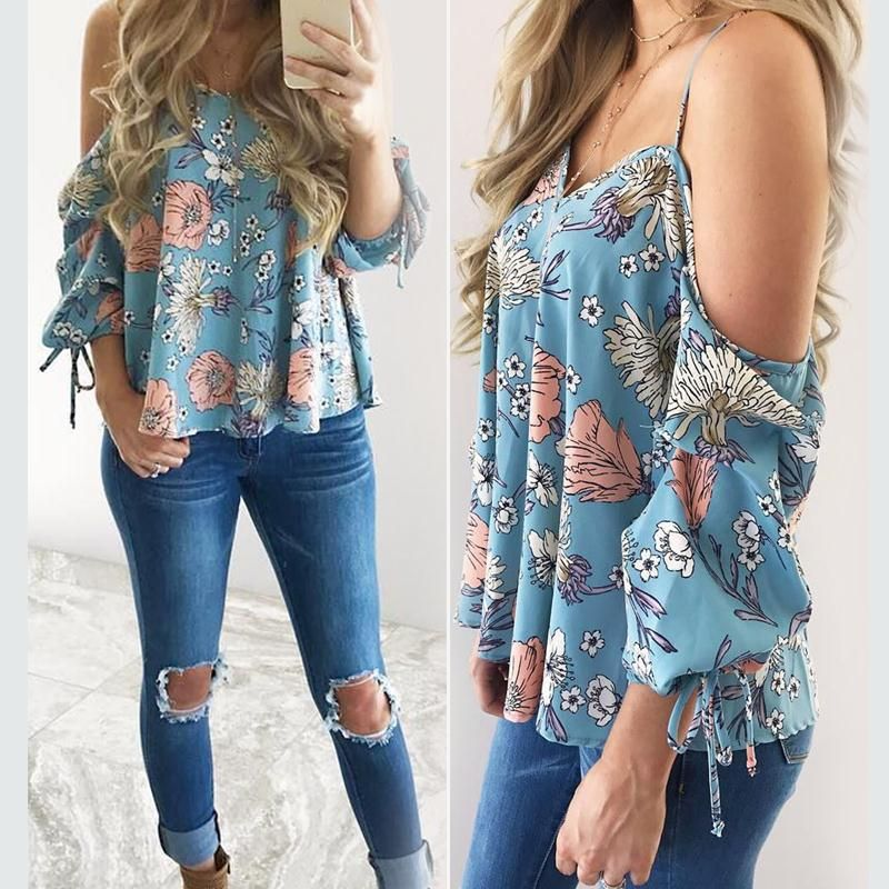2d9452366af68 Women Floral Spaghetti Strap Cold Shoulder Blouse V Neck 2018 Tops Loose  Fashion Casual Shirt Summer Cute All Match Top Tee -in Blouses & Shirts  from ...