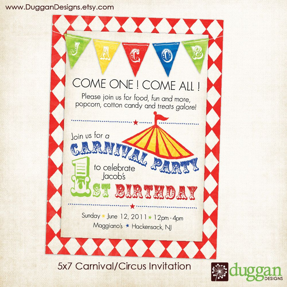 Printable Circus or Carnival Birthday Invitation for Boy or Girl ...