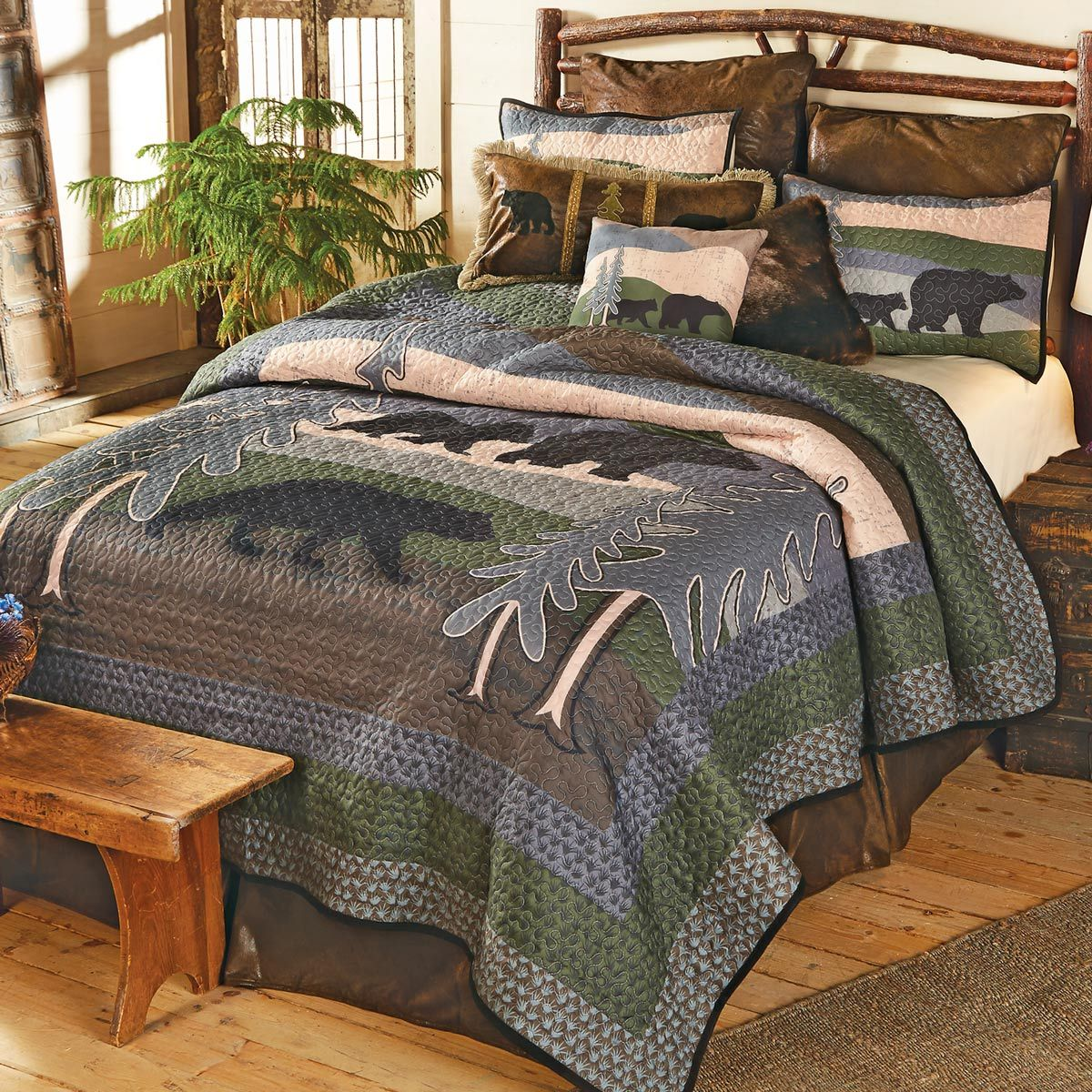 Black Bear Hills Quilt Set Twin In 2020 Quilt Sets Queen Quilt Sets Full Comforter Sets