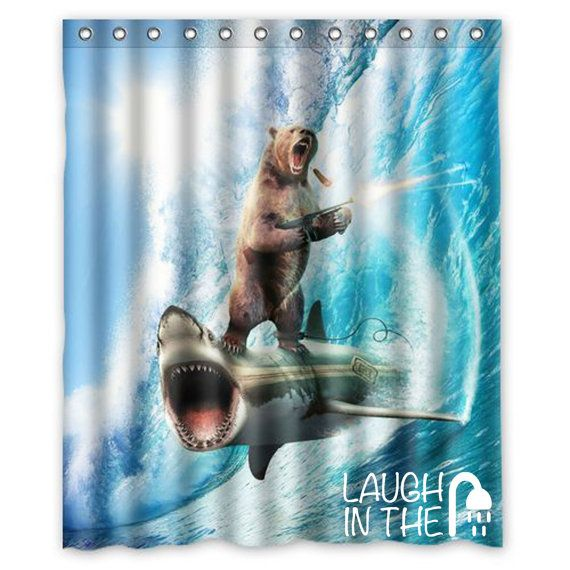 Bear With Machine Gun Riding Shark Funny By Laughintheshower Shower Curtain Curtains