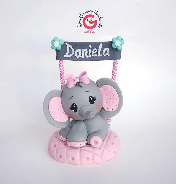 Edible Cake Toppers Personalizado De Elefante Cumpleaños Bautizo Pasta de Azúcar Rosa