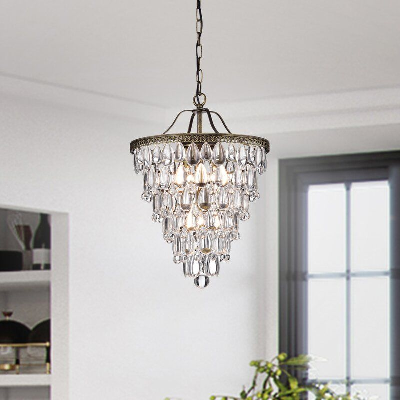 Totnes 4 Light Unique Statement Tiered Chandelier With Crystal