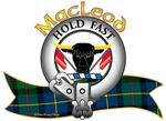 """MacLeod Clan Tartan the Crest A bull's head cabossed sable, horned Or, between two flags gules, staved at the first. Clan Motto is chosen by the Clan Chief. """"Hold fast"""". MacRory Mor"""