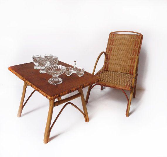 Chaise et table de poup e bambou et rotin par for Chaise et table en rotin