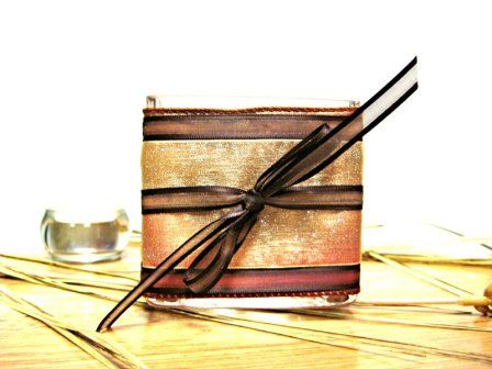 Beautiful #fall #candle holder wrapped in gold glitter ribbon, touched with a brown bow-